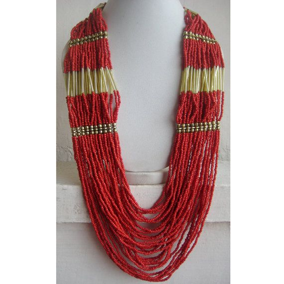 Coral Statement Necklace/Bib Necklace/Beaded by FootSoles on Etsy, $28.90