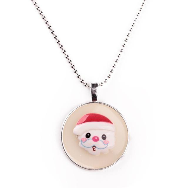 Noctilucent Christmas Cabochon Glass Art Pendant Necklace ChainA