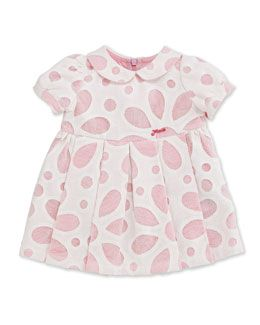 Z1E89 Fendi Sophisticate Floral Mesh Eyelet Dress, White/Pink, Size 3-24 Months
