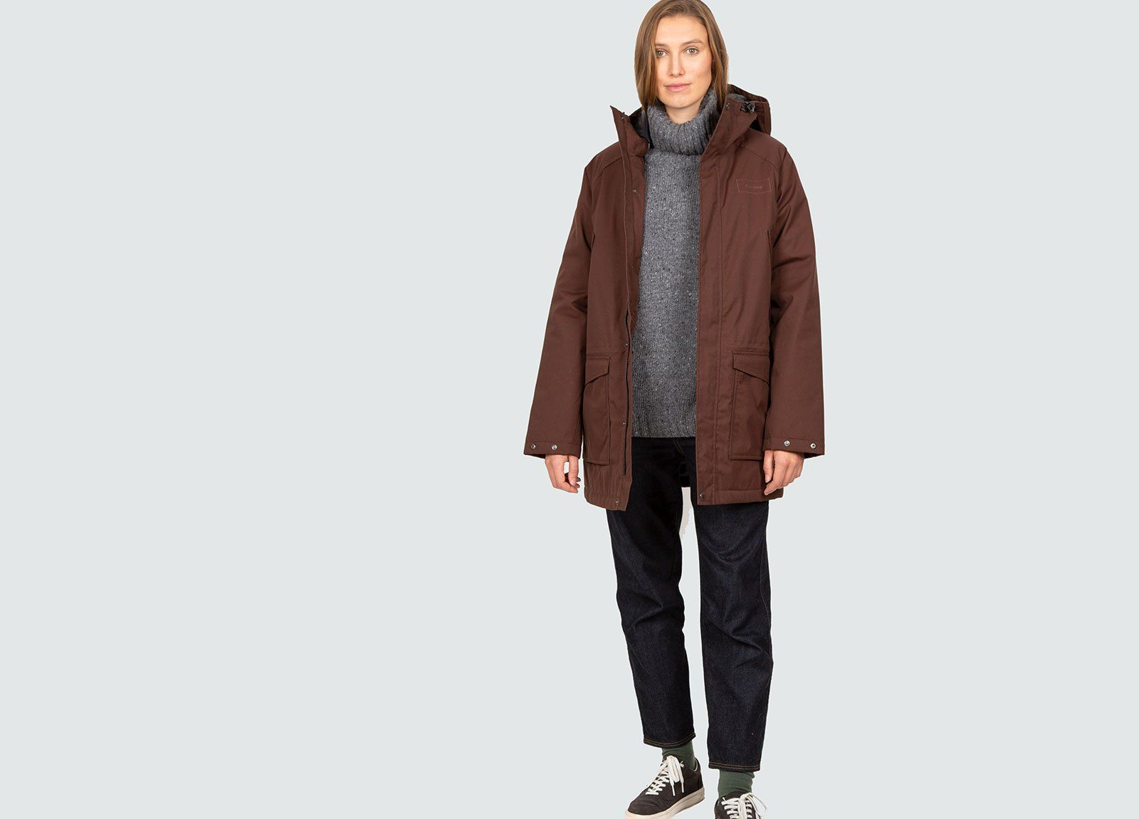 Women S Baerum Brown Insulated Waterproof Recycled Parka Finisterre Waterproof Parka Parka Wax Jackets