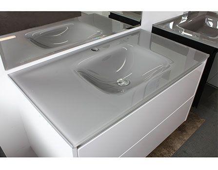 Highgrove Bathrooms Aurora Glass Basin Top 900mm Glass Vanity Bathroom Vanity Tops Grey Glass