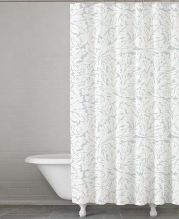 Cassadecor Fern Cotton Shower Curtain White Shower Curtains