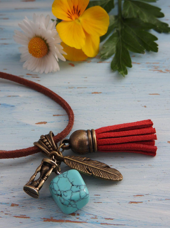 Collier à Pompon pendentif pierre turquoise collier