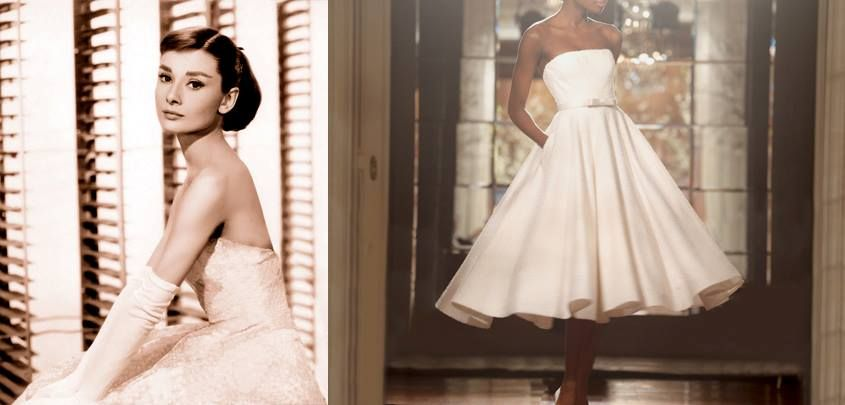 WEDDING DRESS INSPIRATION – 1950'S AUDREY HEPBURN   With a new upbeat spirit, the Fifties bestowed us with style icons like Audrey Hepburn giving women a fresh archetype. Romona Keveza's pearl covered classic waltz-length dress (style RK529) marries restraint and charm to perfection.