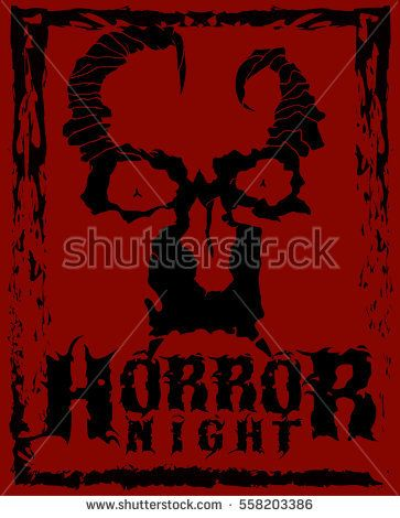 Horror night. Stylish poster of goblin face with horns and grunge frame. Good fore t-shirts, stickers, labels.