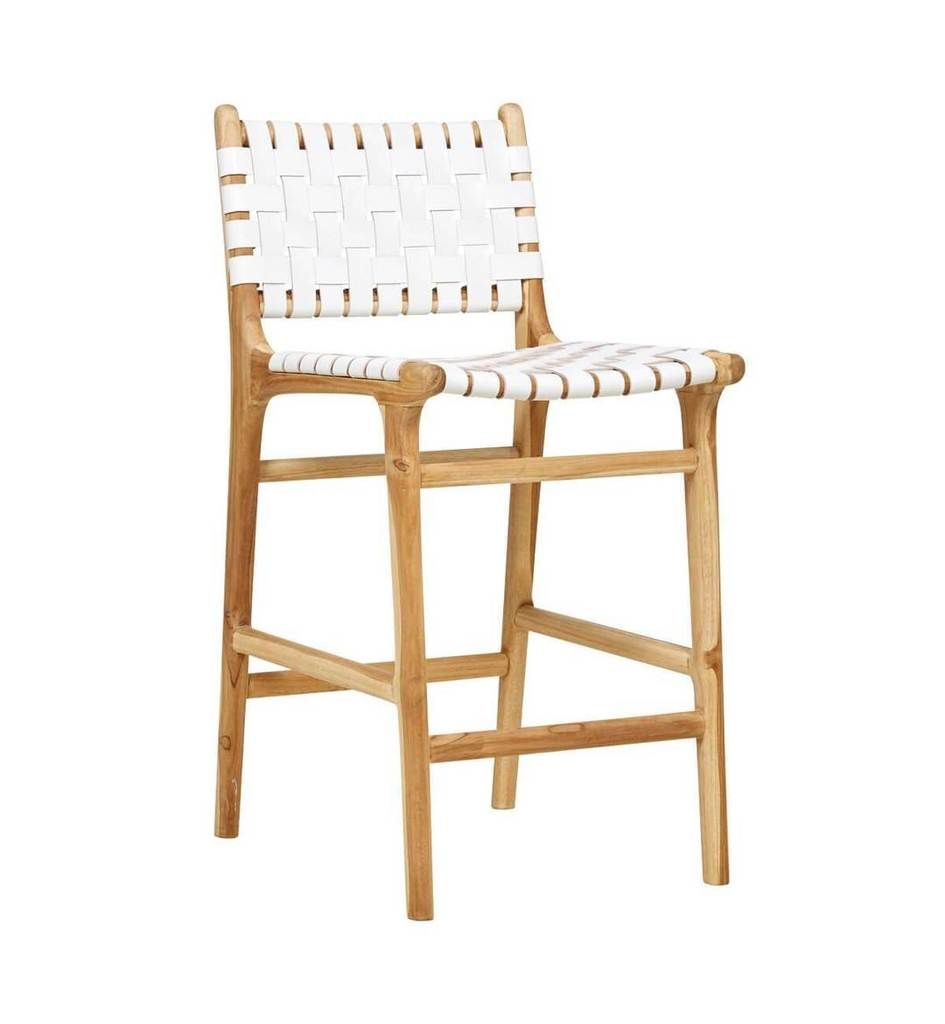 Groovy Leather Strapping Bar Stool With Back Teak White White Gmtry Best Dining Table And Chair Ideas Images Gmtryco