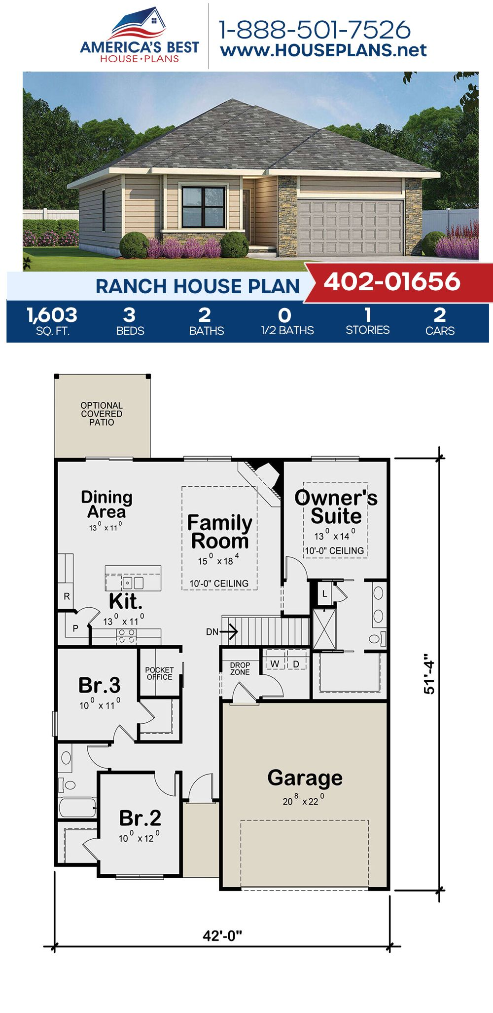 House Plan 402 01656 Ranch Plan 1 603 Square Feet 3 Bedrooms 2 Bathrooms In 2021 Country Style House Plans 3d House Plans Ranch House Plan