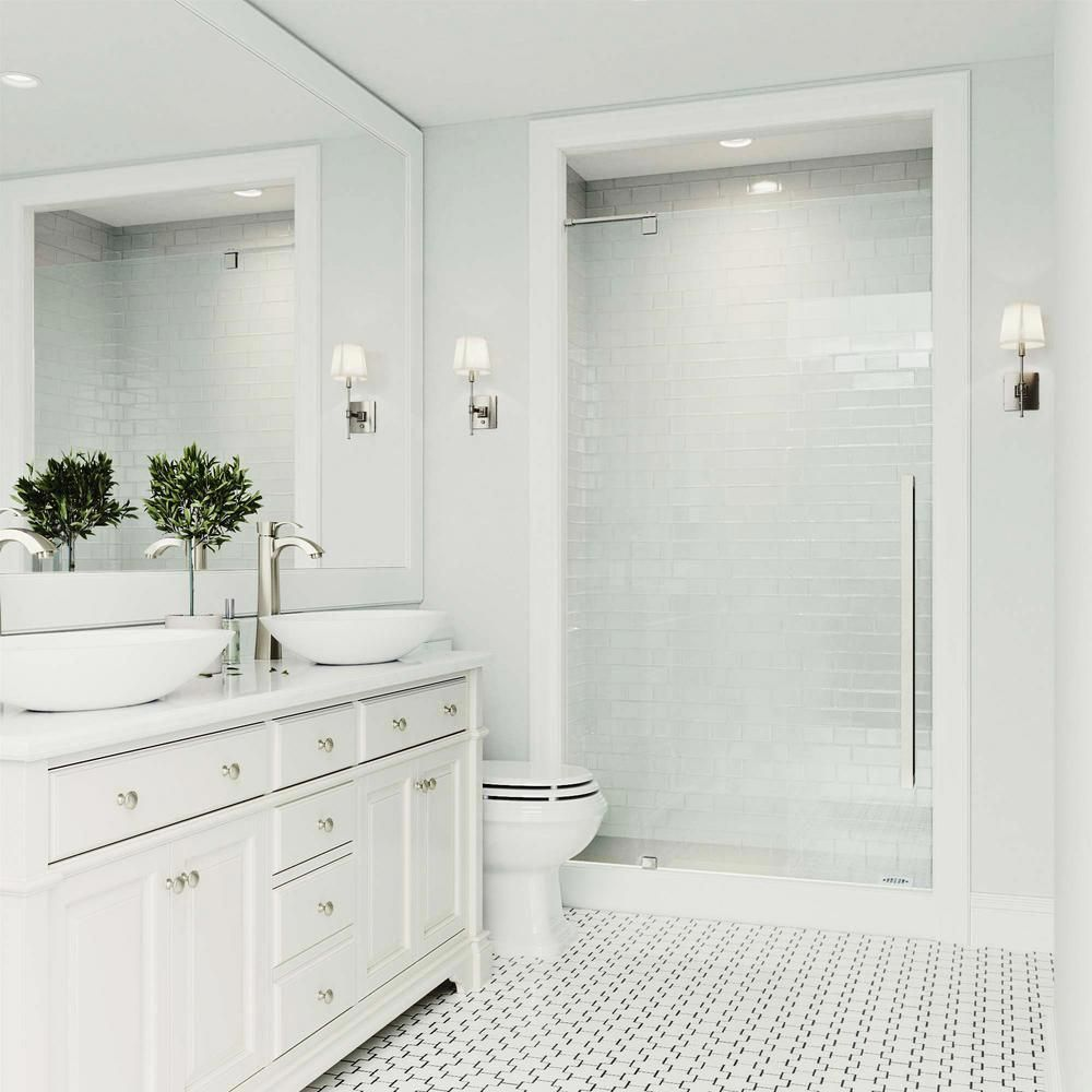 Photo of Cameo 42 in. x 74.375 in. Frameless Pivot Shower Door in Stainless Steel with Clear Glass and Handle