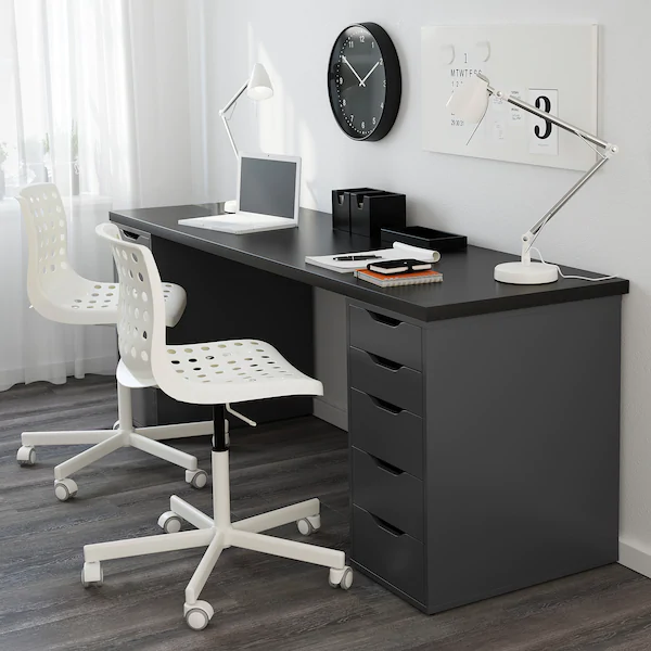 Alex Drawer Unit Gray 14 1 8x27 1 2 Ikea In 2020 Ikea Alex Drawers Drawer Unit Linnmon Table Top