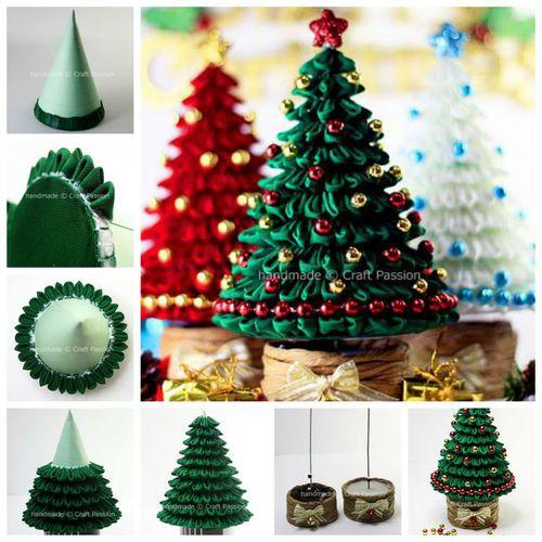Creative Ideas Diy Ribbon Kanzashi Christmas Tree Icreativeideas Com Manualidades Navidenas Artesanias Navidenas Cosas De Navidad