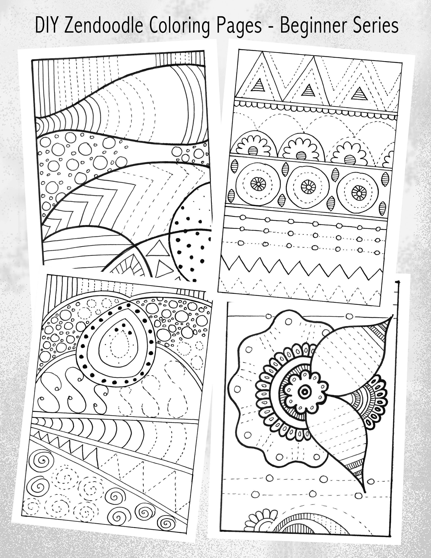 Set Of Printable Diy Zendoodles Finish Amp Color Zendoodles