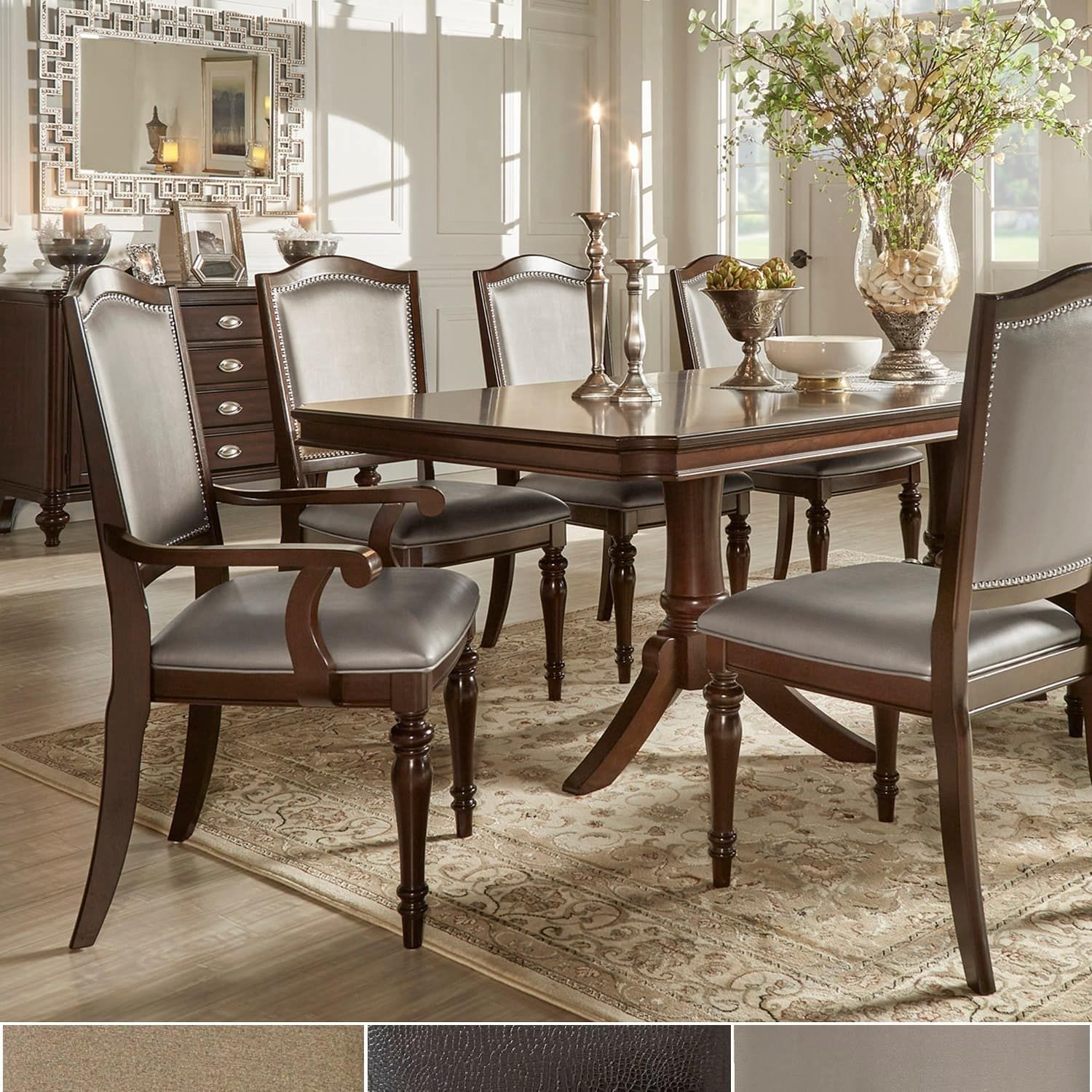 LaSalle Espresso Pedestal Extending Table Dining Set by iNSPIRE Q Classic  ([9-Piece]- Brown Fabric- 6 Side + 2 Arm Chairs), Size 9-Piece Sets