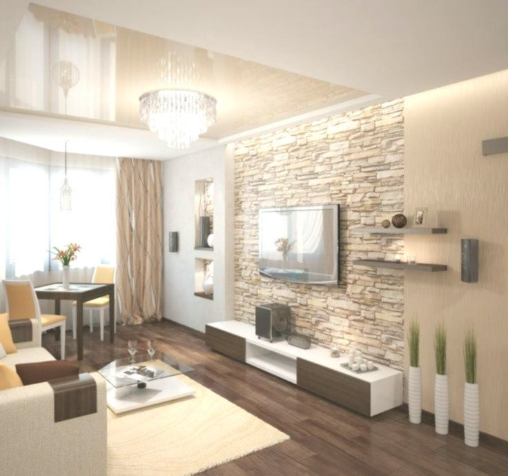 Muro in pietra naturale nel soggiorno e calde sfumature ...