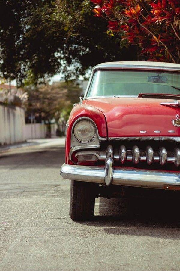 Vintage Red Car Parked On The Street Color Palette. #color ...