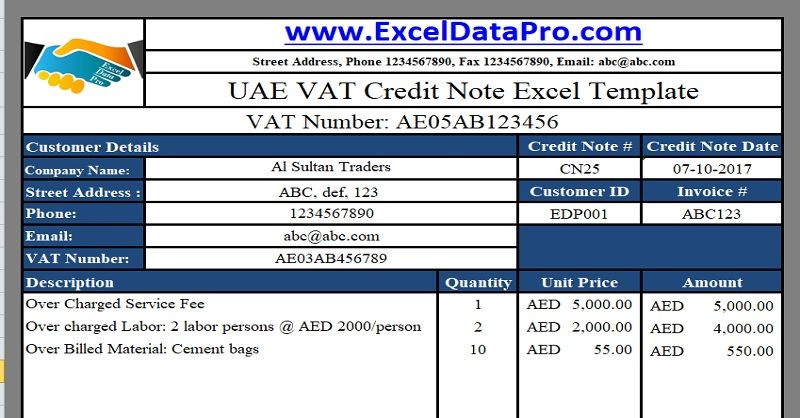 Download UAE VAT Credit Note Excel Template UAE VAT Templates