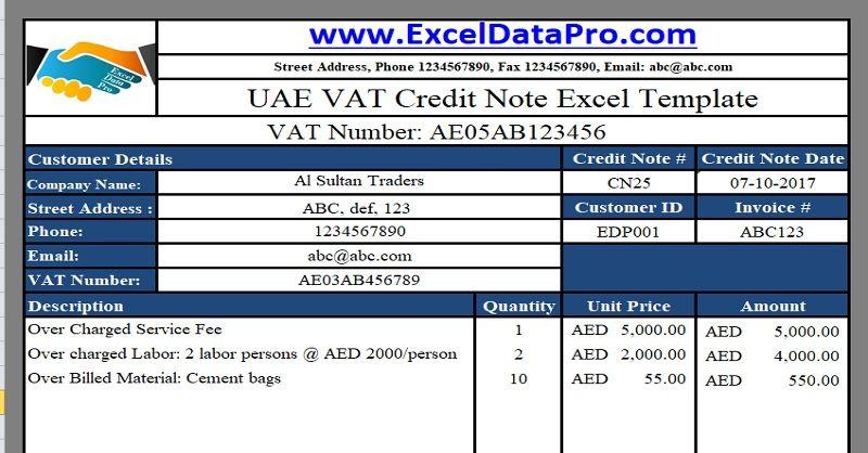 Download uae vat credit note excel template exceldatapro
