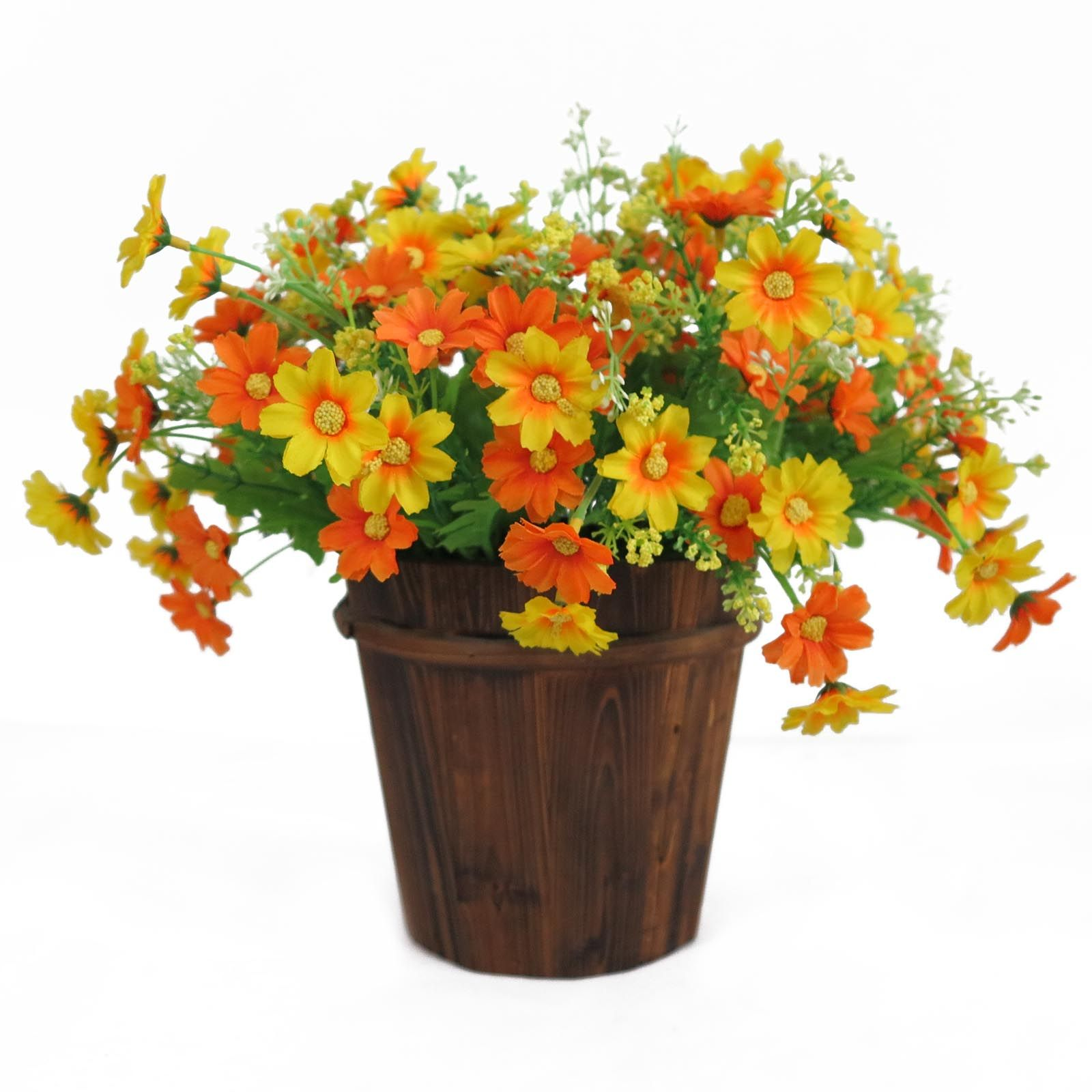 Artificial Chrysanthemum Daisy Flower Bush Bunch Hanging Basket Vase