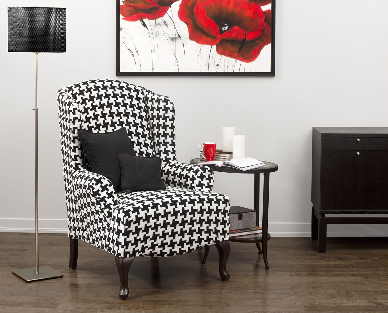 Hudson Black Wing Chair Slipcover