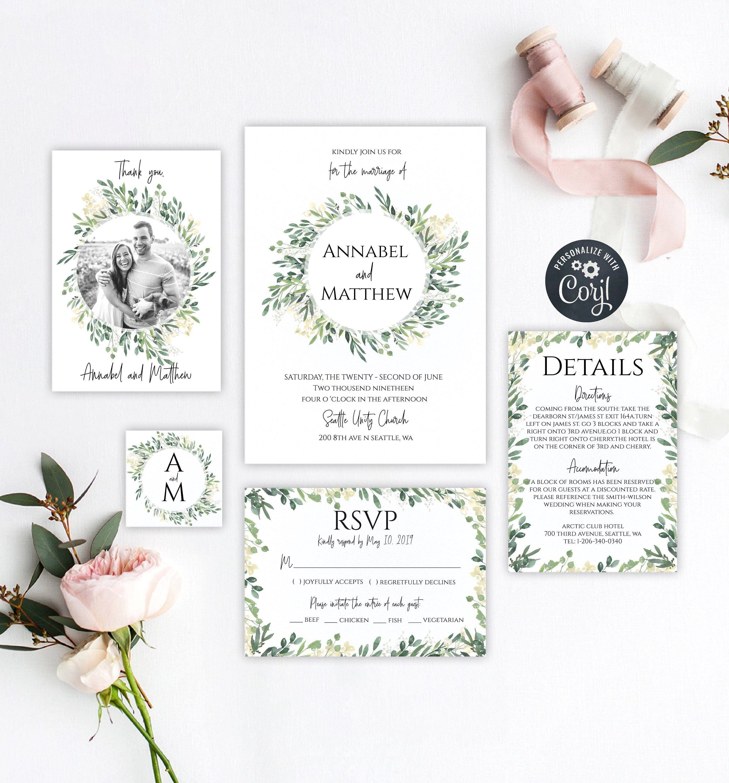 Greenery Wedding Invitation Template Printable Greenery Wreath W Wedding Budget Template Printable Wedding Invitations Wedding Invitations Printable Templates