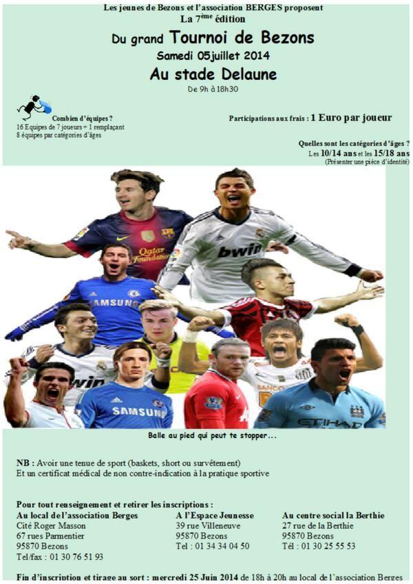 7e édition du Tournoi de foot de Bezons. Le samedi 5 juillet 2014 à bezons.