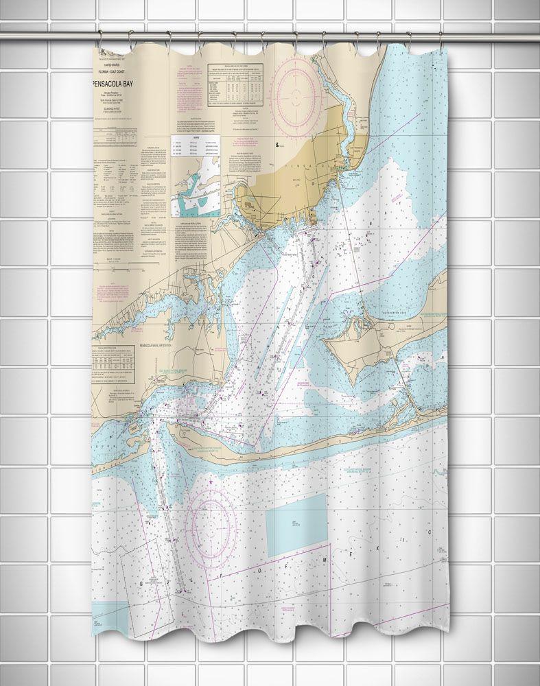 Fl Pensacola Bay Fl Nautical Chart Shower Curtain Curtains