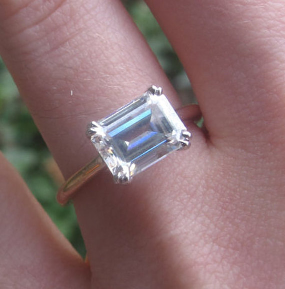 bca9deba79b69 East West Engagement Ring, East West Emerald Cut Ring Setting ...