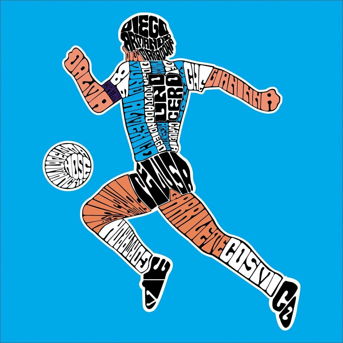 Arte Maradona Dibujado Con Letras Con Palabras Que Lo Hacen Grande Diego Maradona Futbol Argentino Póster De Fútbol