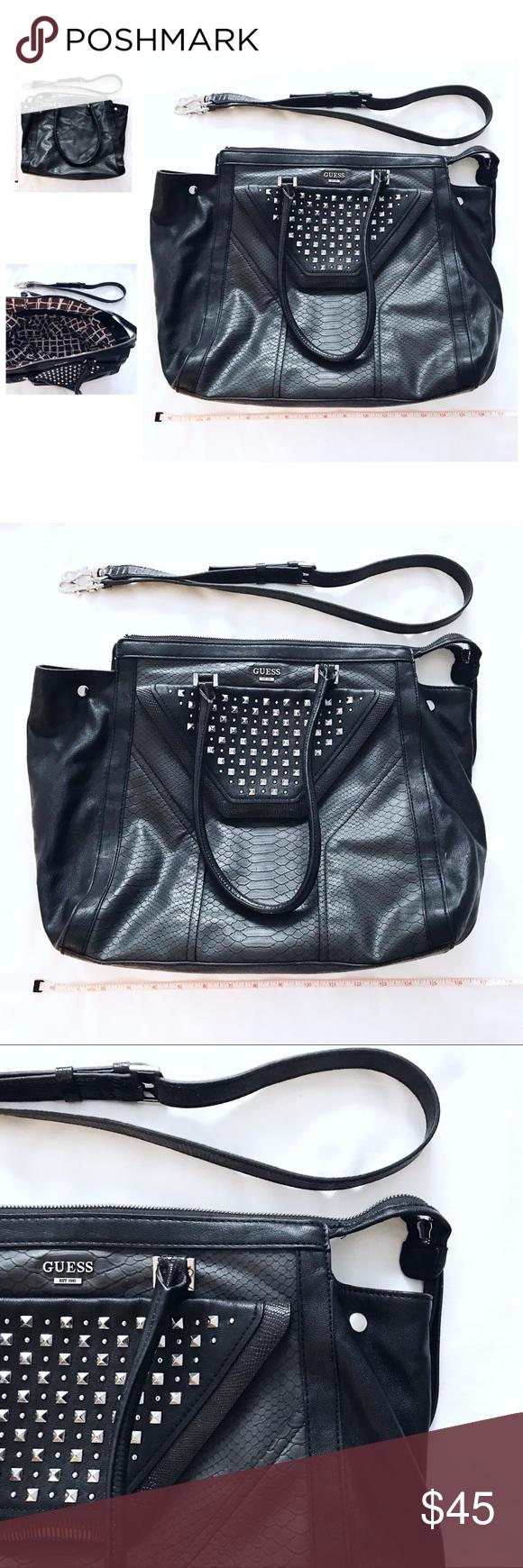 G U E S S Black Studded Satchel Crossbody Bag • Guess • black   dark  charcoal • silver studded detail • satchel   shoulder   Crossbody bag •  removable long ... f9d5152e4011d