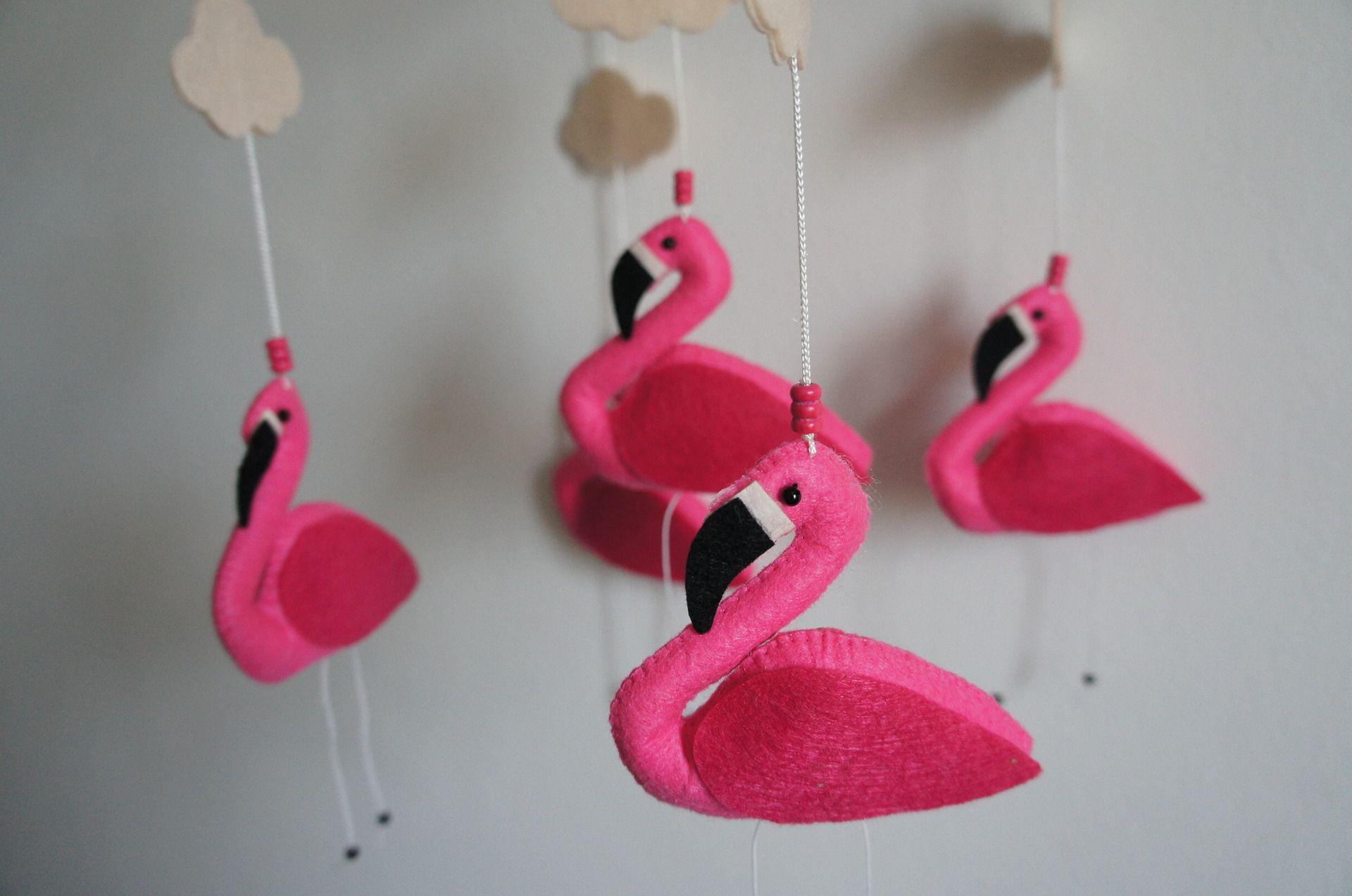 Flamant mobili ~ Mobile 5 flamant rose en feutrine mobiles bébés pinterest