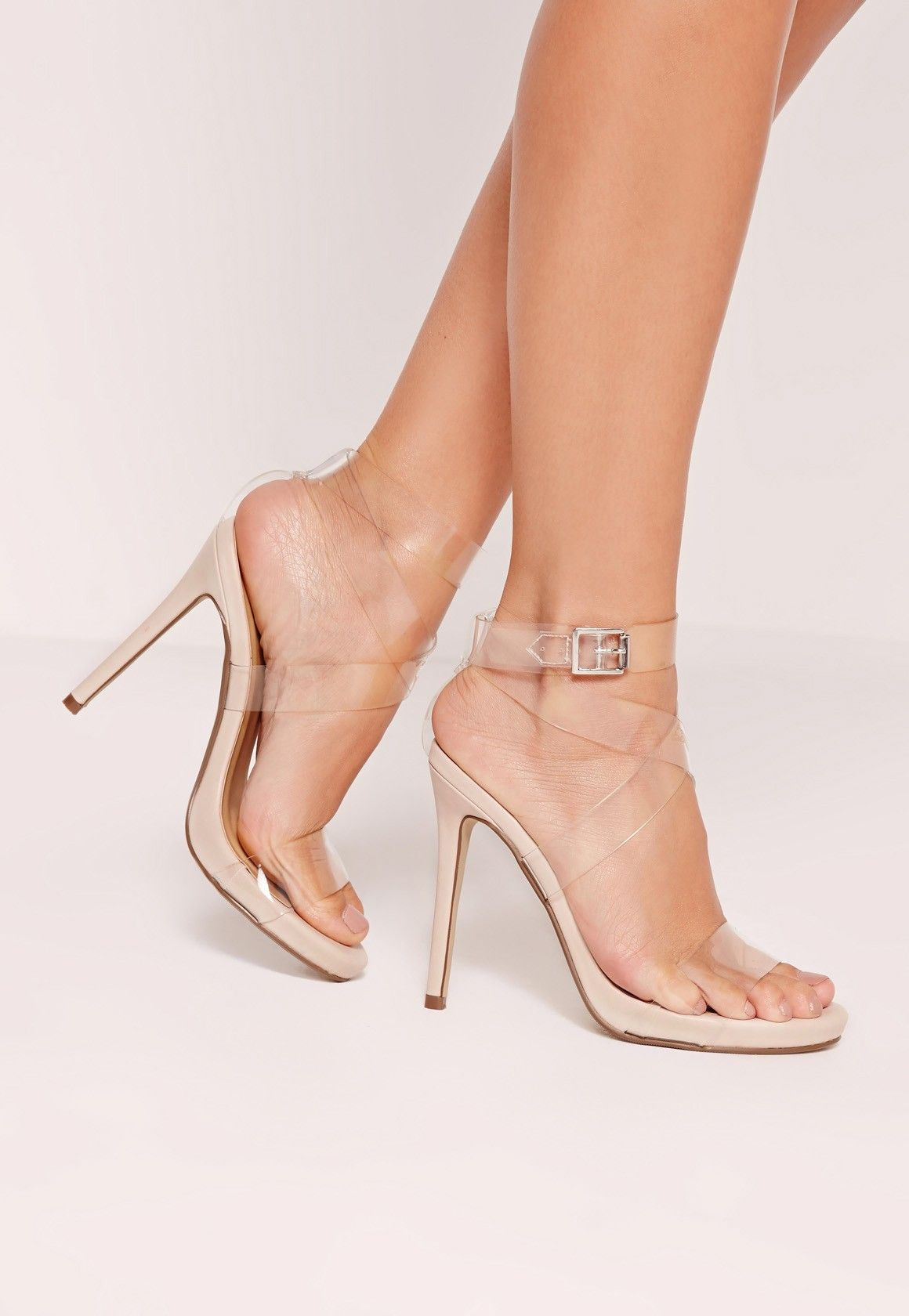 1f28de8c98106 Missguided - Transparent Cross Strap Heeled Sandals Nude
