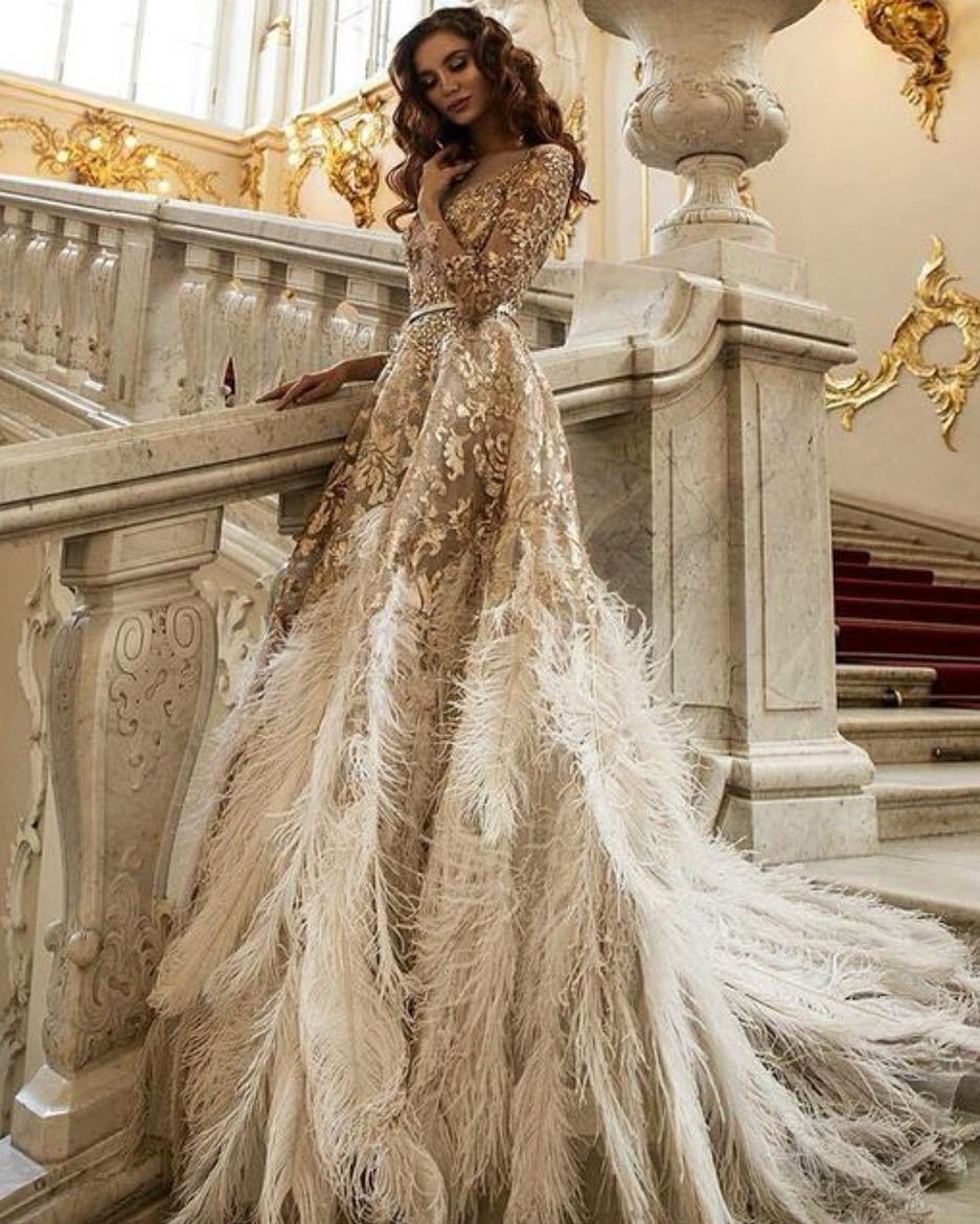 The Gold Ivory Feather Wedding Gown Wedding Bridal Bridetobe Weddingdress Bridesmaids Go Wedding Dress With Feathers Feather Gown Feather Wedding Gowns