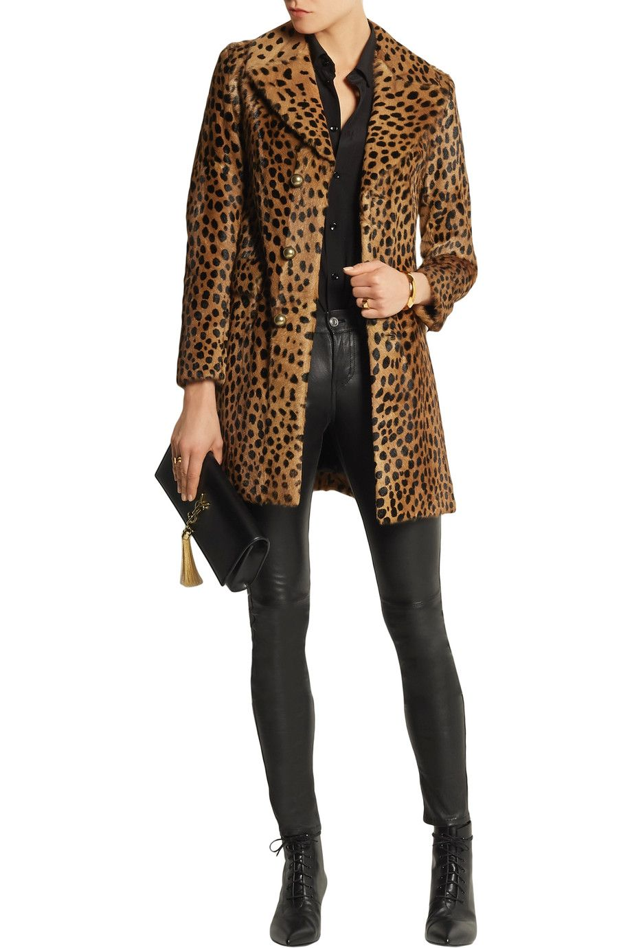Shop on-sale Saint Laurent Leopard-print goat hair coat. Browse ...