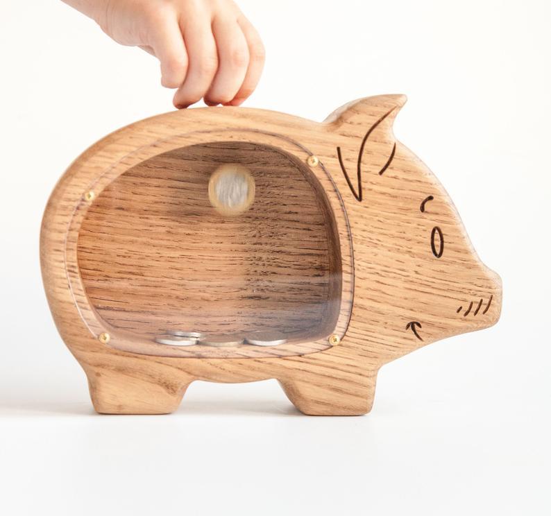 Wooden Piggy Bank For Boys Or Girl Coin Bank Money Banks Etsy Wooden Piggy Bank Wooden Money Boxes Wooden Money