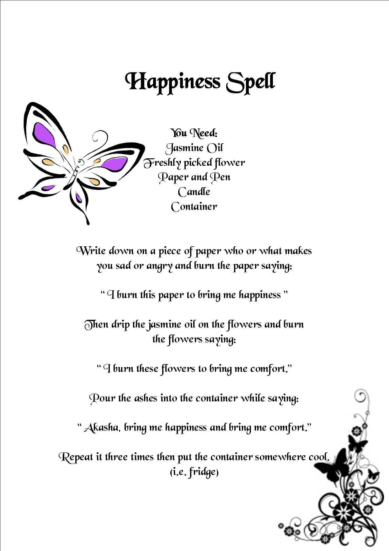 Happiness spell Don't freak out I just like it lol | Wicca ...