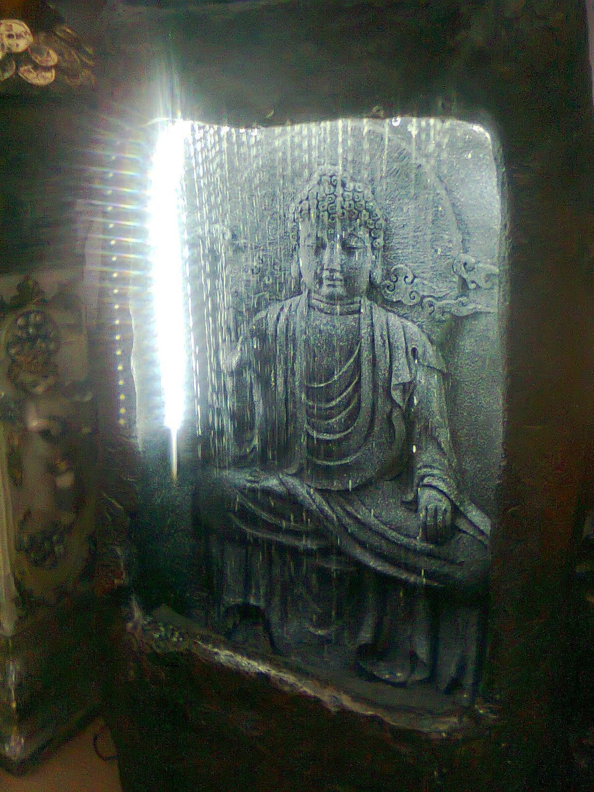 Exclusive Hand Crafted Fountain Of Mahatma Buddha With Curtain Water Fall Made Of Fiber Stone With Hand Paintin Indoor Water Fountains Fountain Water Fountain