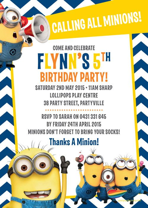 the minions despicable me inspired birthday party invitation