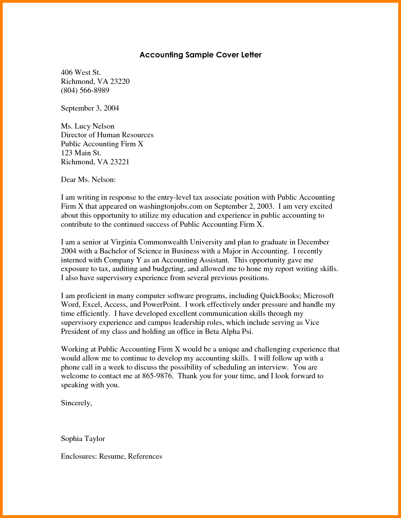 7 entry level accounting cover letter precis format