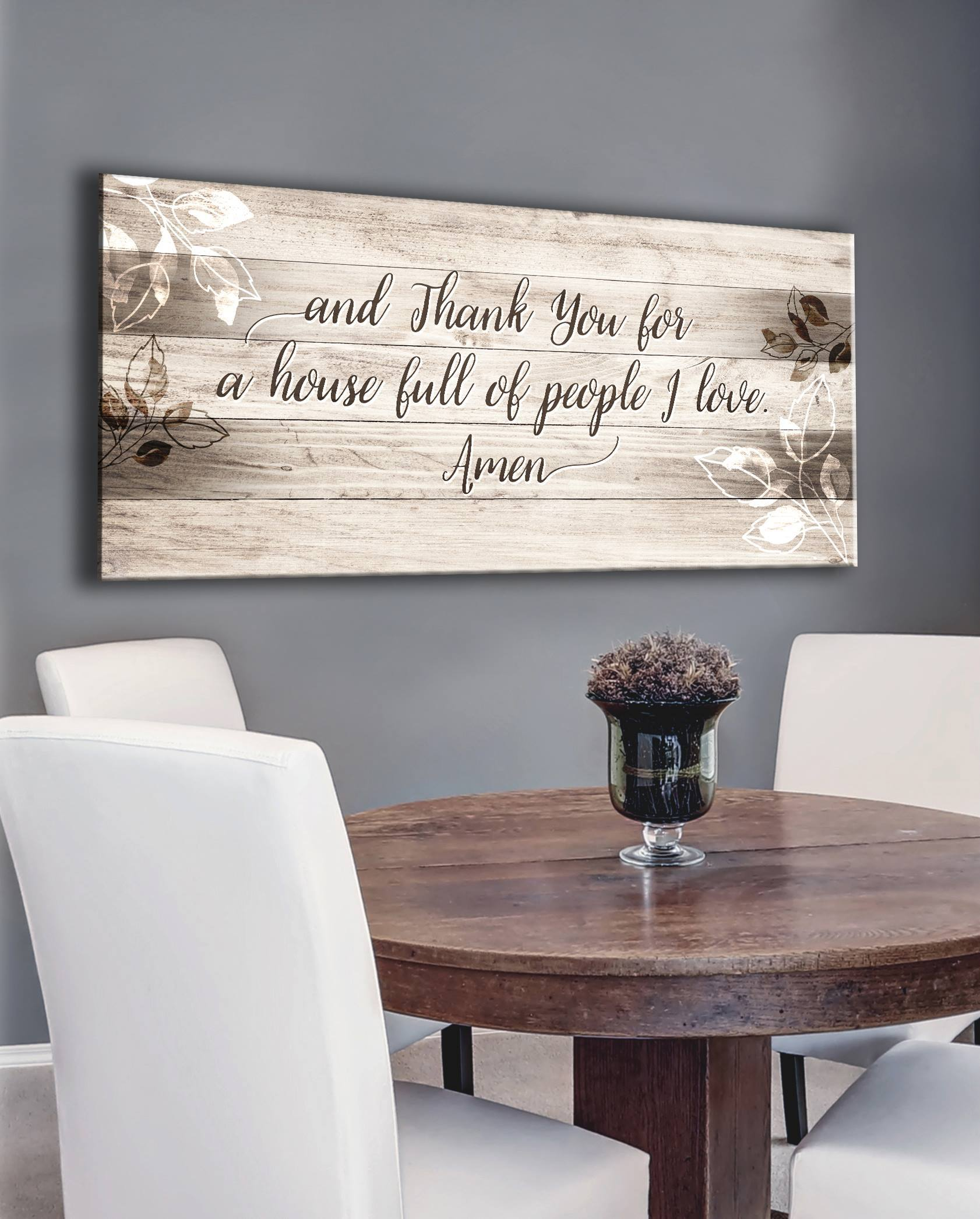 Christian Wall Art Thank You House Full Of Love Multiple Colours Available Wood Frame Ready To Hang Dining Room Wall Art Home Wall Art Dining Room Wall Decor