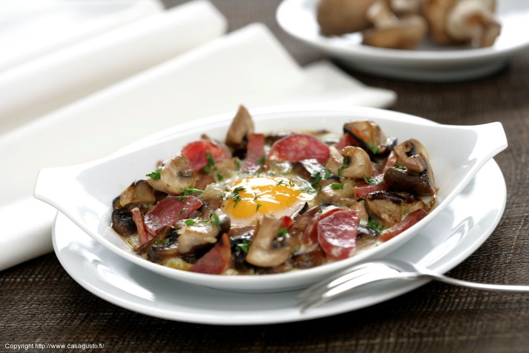 Eggs Baked with Mushrooms and Fuet Salami