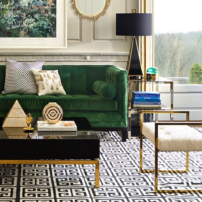 Emerald Black Gold And An Art Deco Patterned Rug Beautifully Updated Eternal Art Deco Styl Modern Chic Living Room Chic Living Room Design Gold Living Room