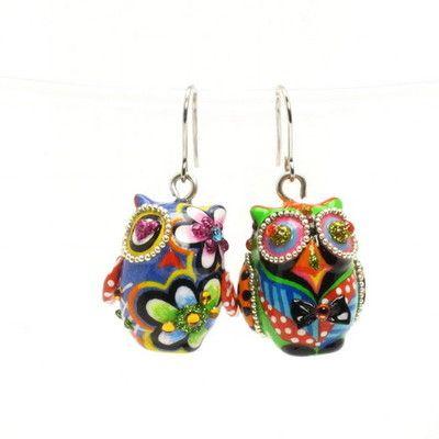 owl ceramic earrings