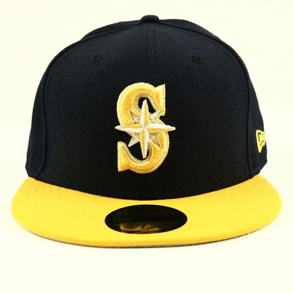 Seattle Mariners New Era Cap Mlb Baseball Hat Black Yellow Size 7 5 8 Fitted Newera Seattlemariners New Era Fitted Hats New Era Cap