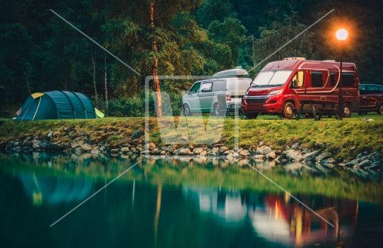 Scenic Rv Park Camping Stock Photo - Download Image Now