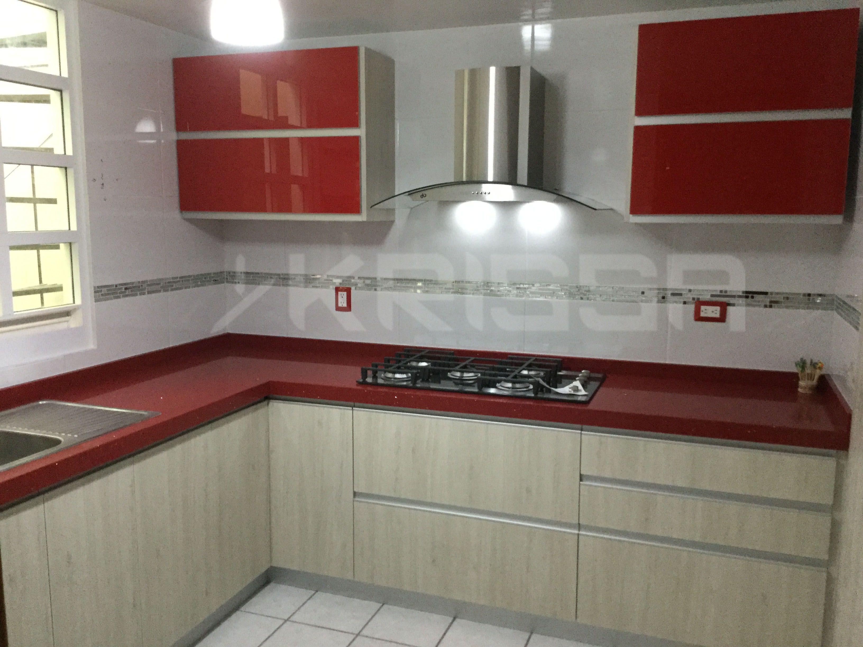 Asombroso Cocina Gabinetes Del Rojo De Imágenes Bosquejo - Ideas de ...
