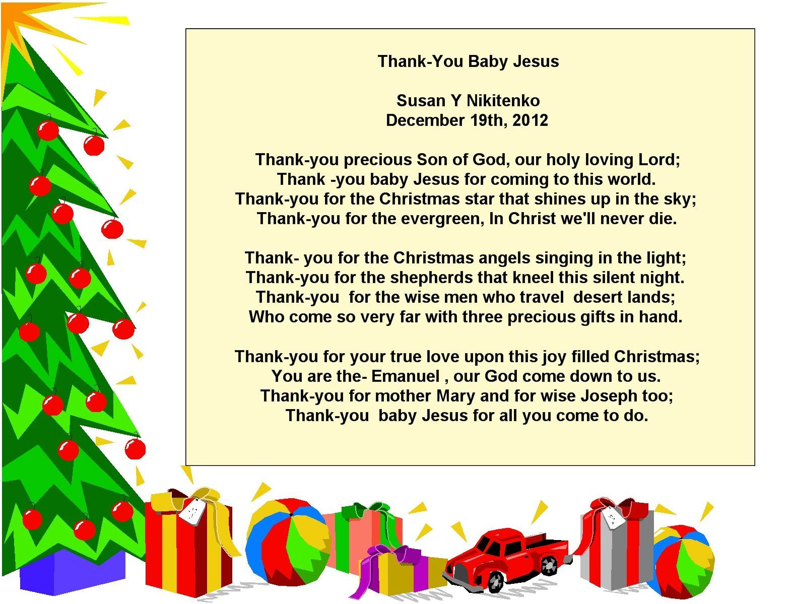 Christmas Thank You Jesus Poem Visit The Immanuel Prayer Wheel