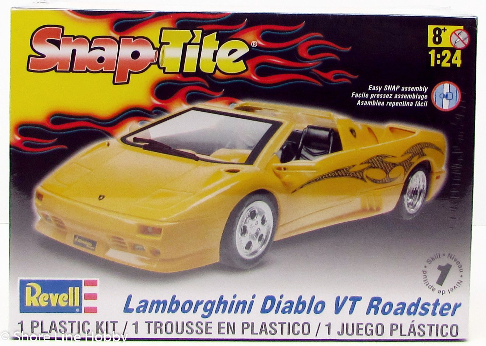 Lovely Revell Lamborghini Diablo VT Roadster 85 1966 1/24 Car Plastic Model Kit |  Products