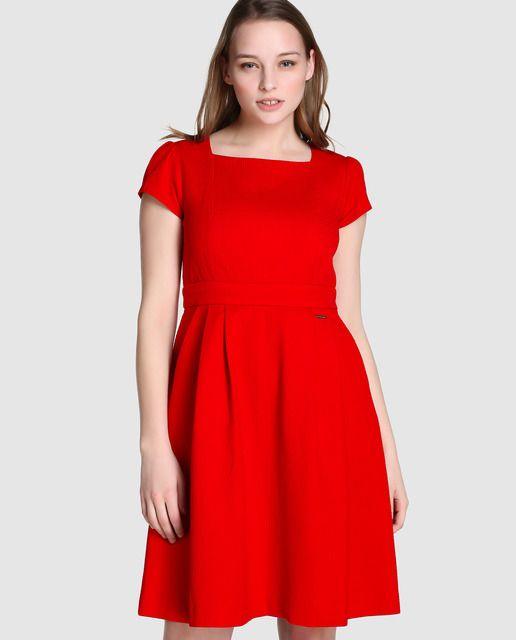 5413c7c3a Vestido de fiesta de mujer Tintoretto de piqué en rojo · Tintoretto ...