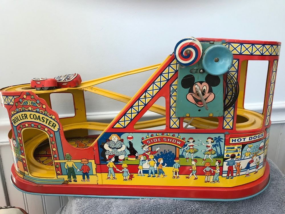 J Chein Roller Coaster Tin Litho Vintage Toy With Cars Box