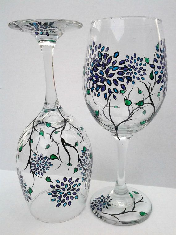 137c5d8de21 Hand Painted Wine Glasses. Image result for How to paint small grape ...