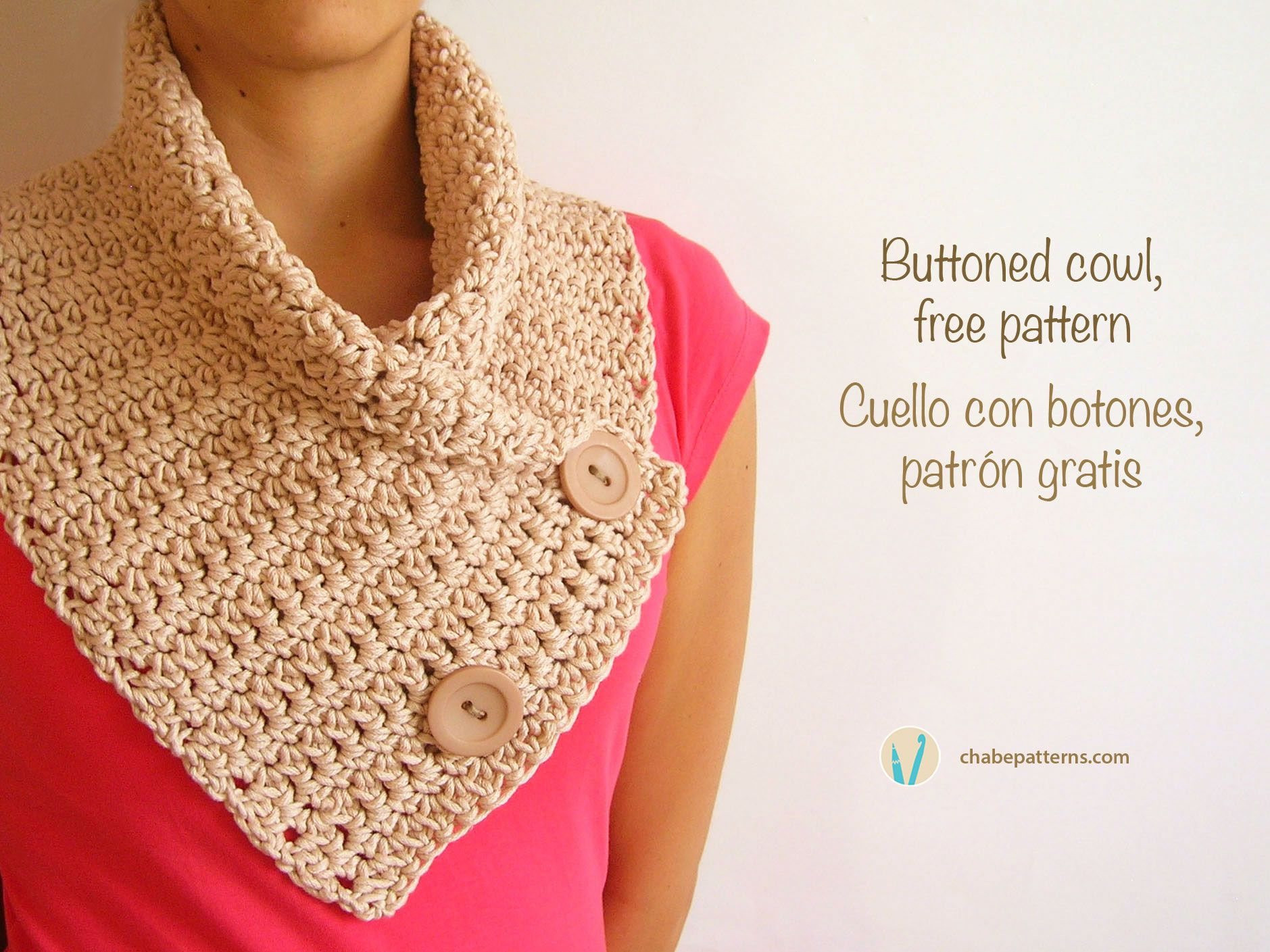 Buttoned cowl, free crochet pattern, written instructions and photo ...